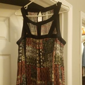 Black Green and Red mid-length dress